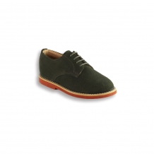 Kids Loden Green Plain Buck - Red Brick Sole