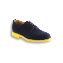 Ladies Navy Suede Plain Buck - Yellow Brick Sole