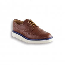 Tan Army Grain Country Brogue - White Vibram Sole