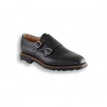 Black Pebble Double Monk Shoe - Black Rubber Ridgeway Sole