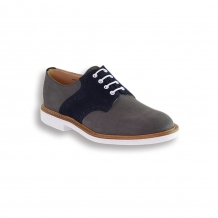 Grey and Navy Suede Saddle Shoe - White Brick Sole