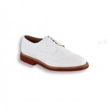 White Suede Plain Buck - Red Brick Sole