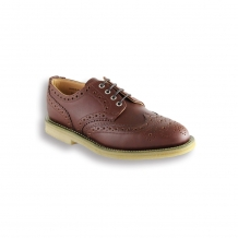 Ladies Tan Waxy Brogue - Crepe Sole