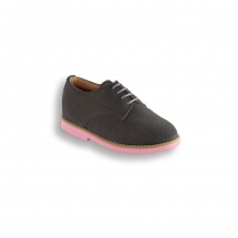 Kids Grey Suede Plain Buck - Pink Brick Sole