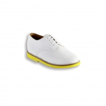 Kids White Suede Plain Buck - Yellow Brick Sole