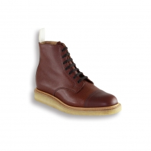 Tan Army Grain Toe Cap Boot - Crepe Wedge Sole
