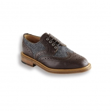 Walnut Grey Tweed Press Brogue - Leather Sole