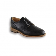 Ladies Black Waxy Country Brogue - Leather Sole