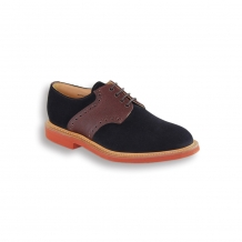 Navy Suede and Brown Army Grain Saddle Shoe - Red Brick Sole