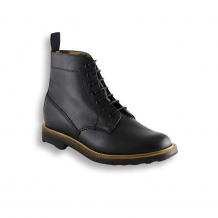 Black Waxy Plain Boot - Black Rubber Ridgeway Sole