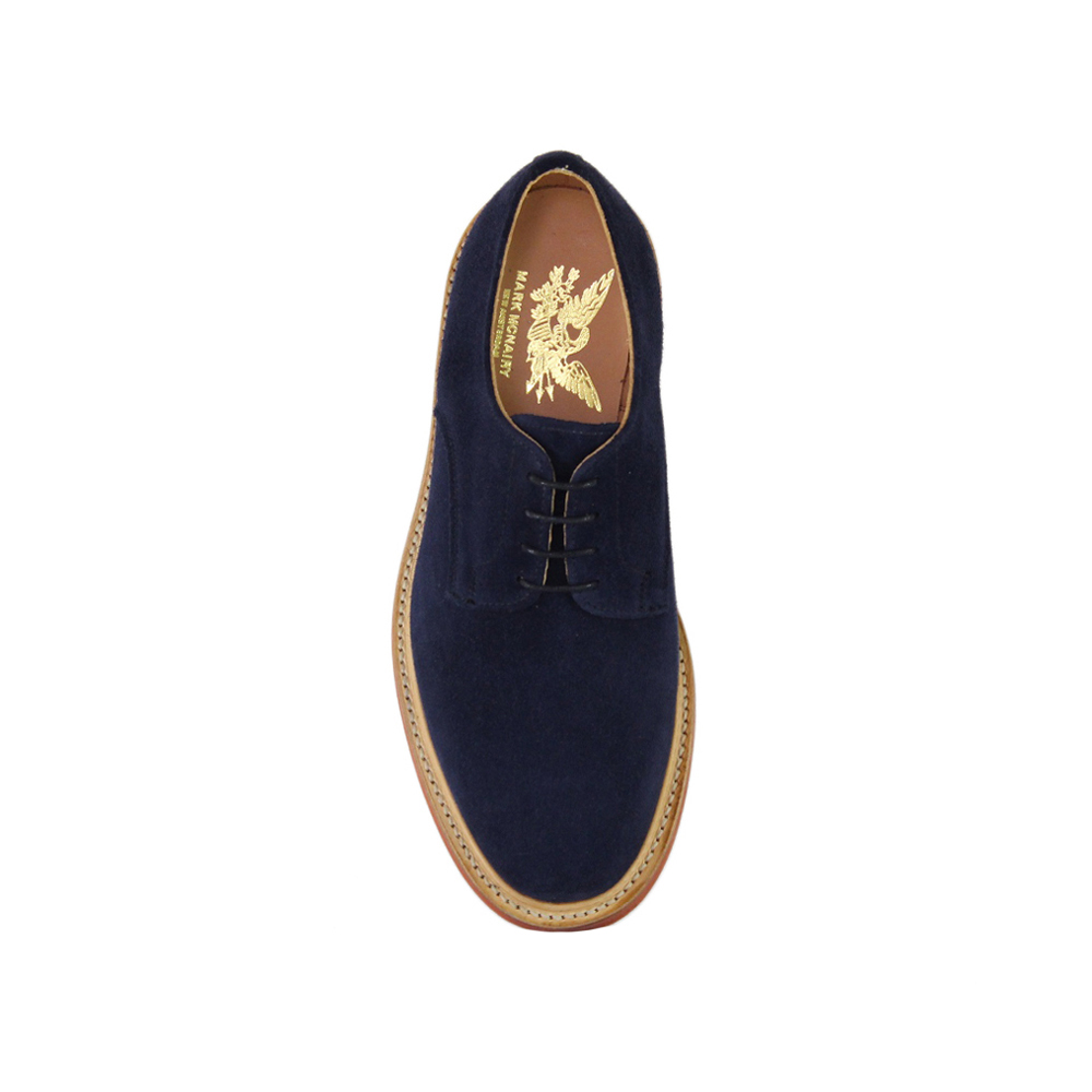 Navy Suede Plain Buck - Red Brick Sole