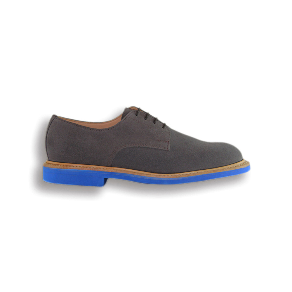 Grey Suede Plain Buck - Blue Brick Sole
