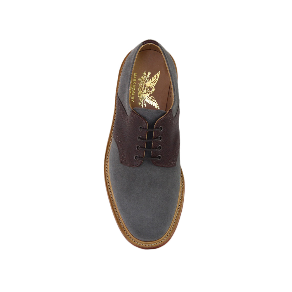 Grey Suede and Brown Army Grain Saddle Shoe - Red Brick Sole