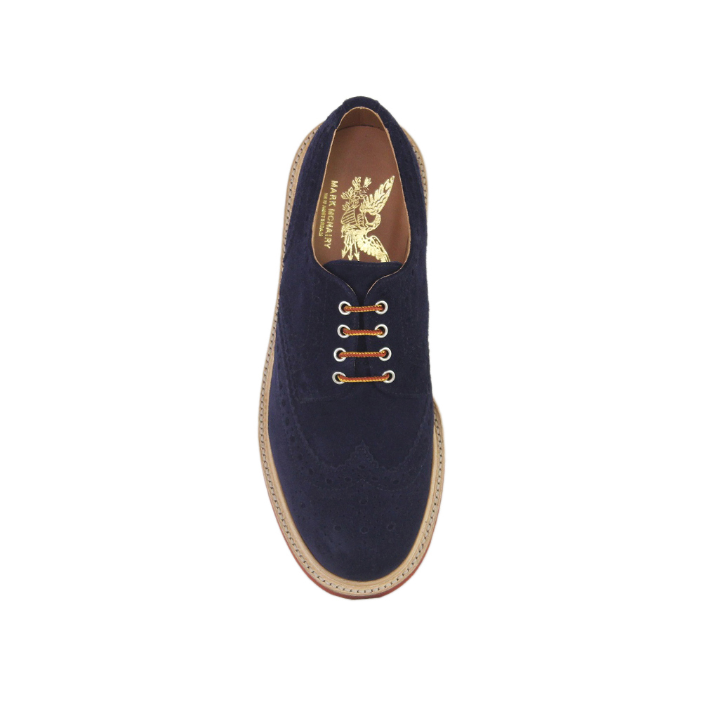 Navy Suede Country Brogue - Red Brick Sole