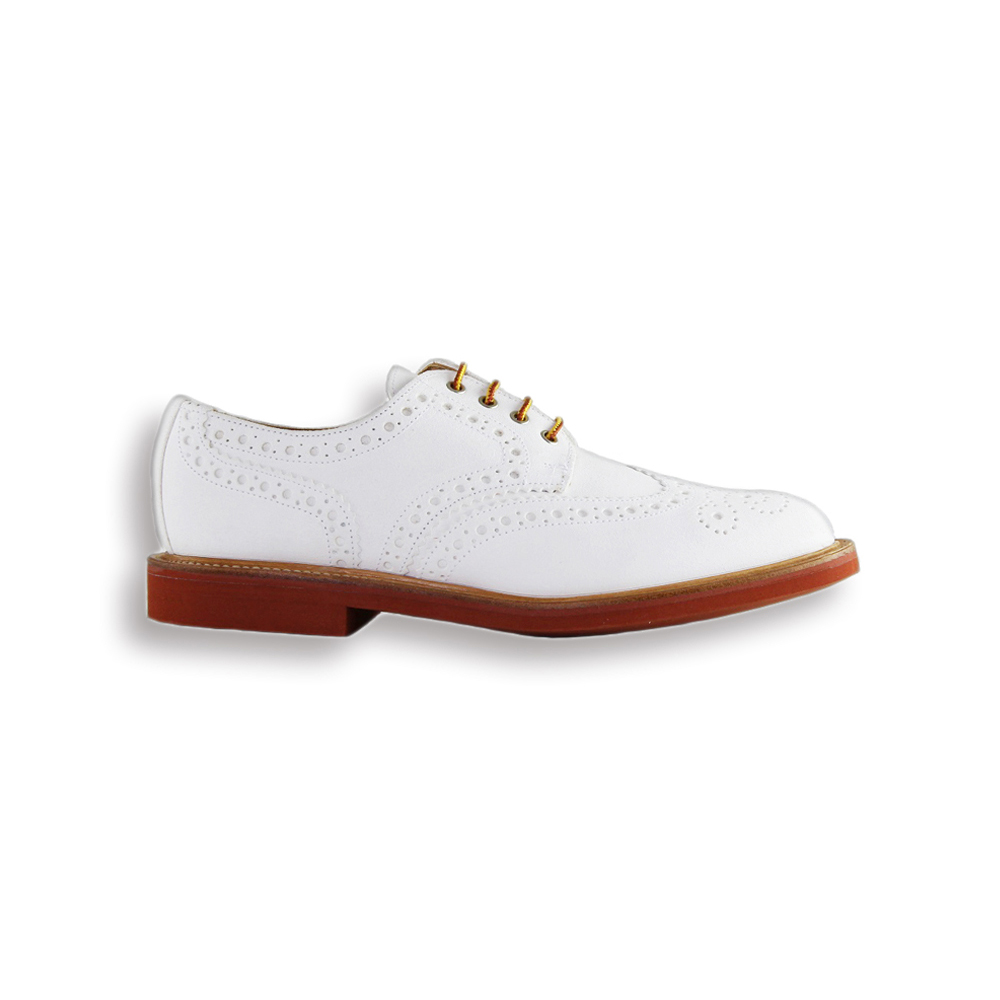 White Suede Country Brogue - Red Brick Sole