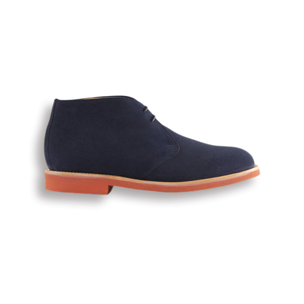 Navy Suede Chukka Boot - Red Brick Sole