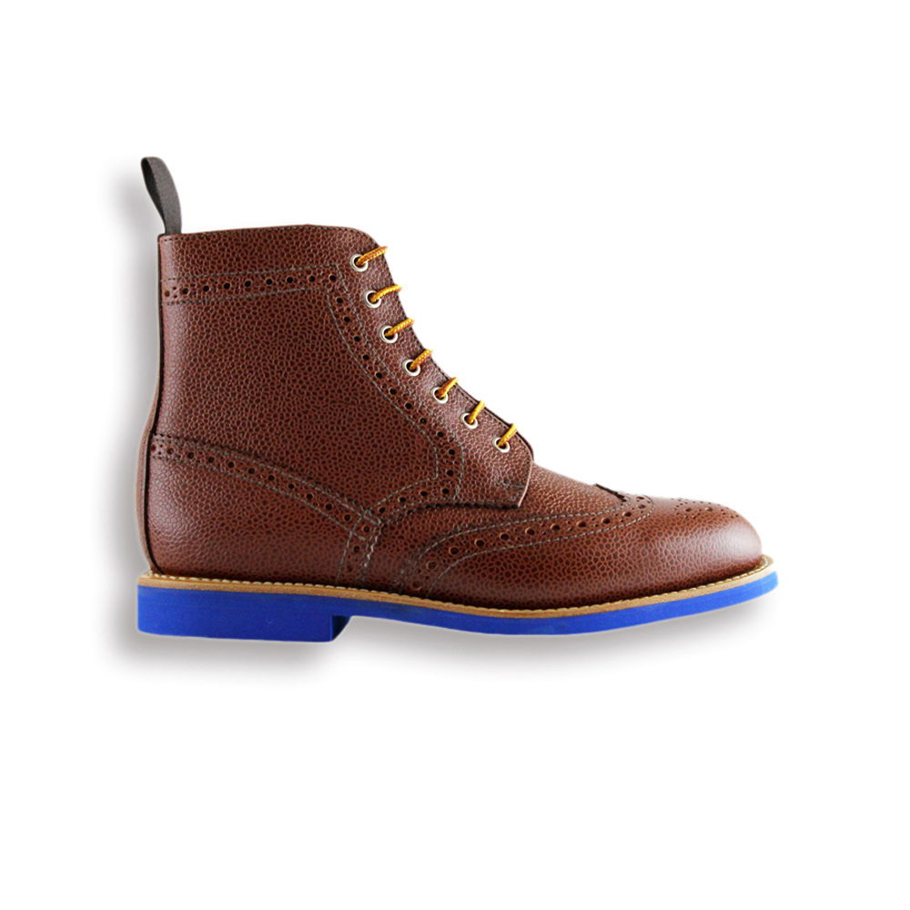 Ladies Tan Army Grain Boot - Blue Brick Sole