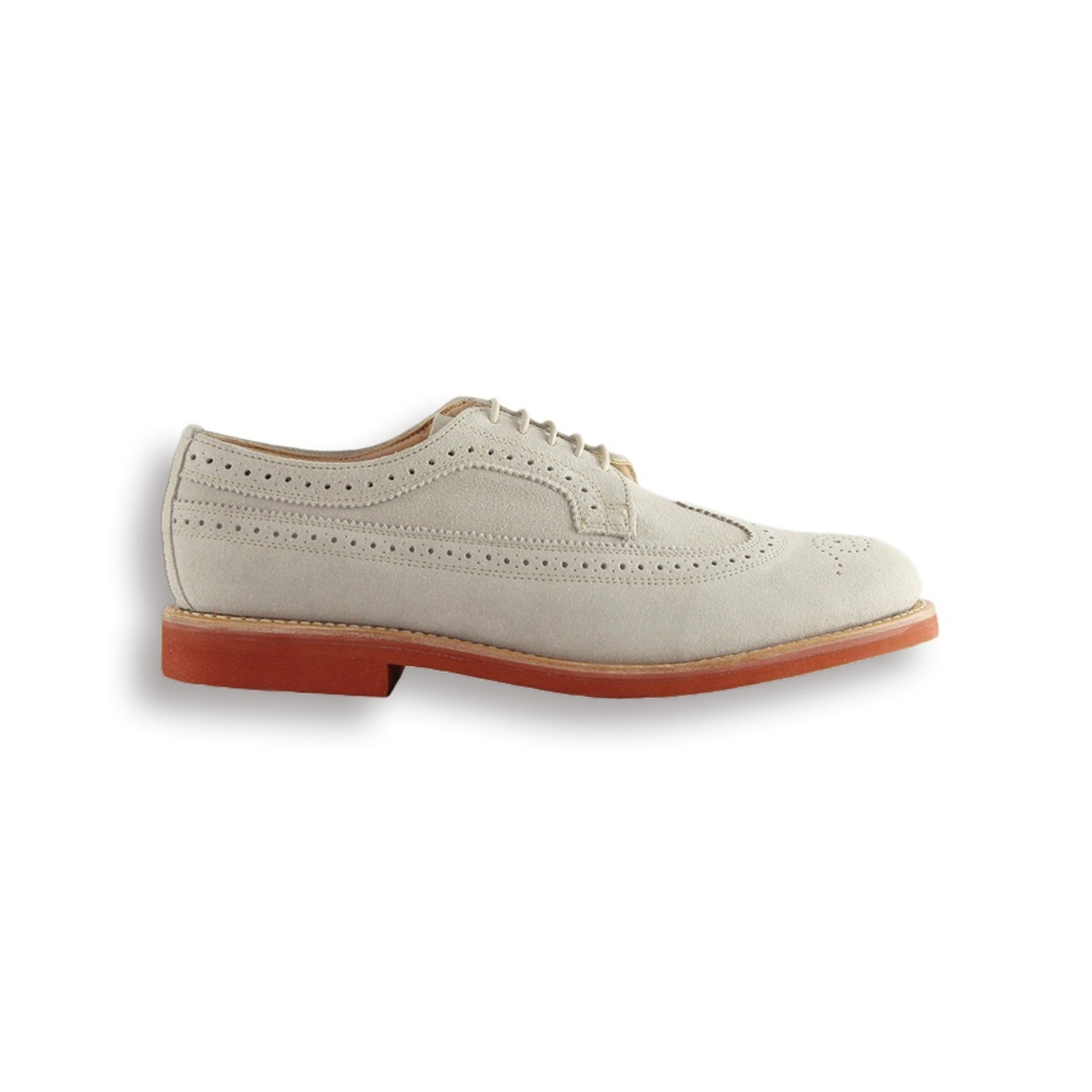 Stone Suede Long Wing Brogue - Red Brick Sole