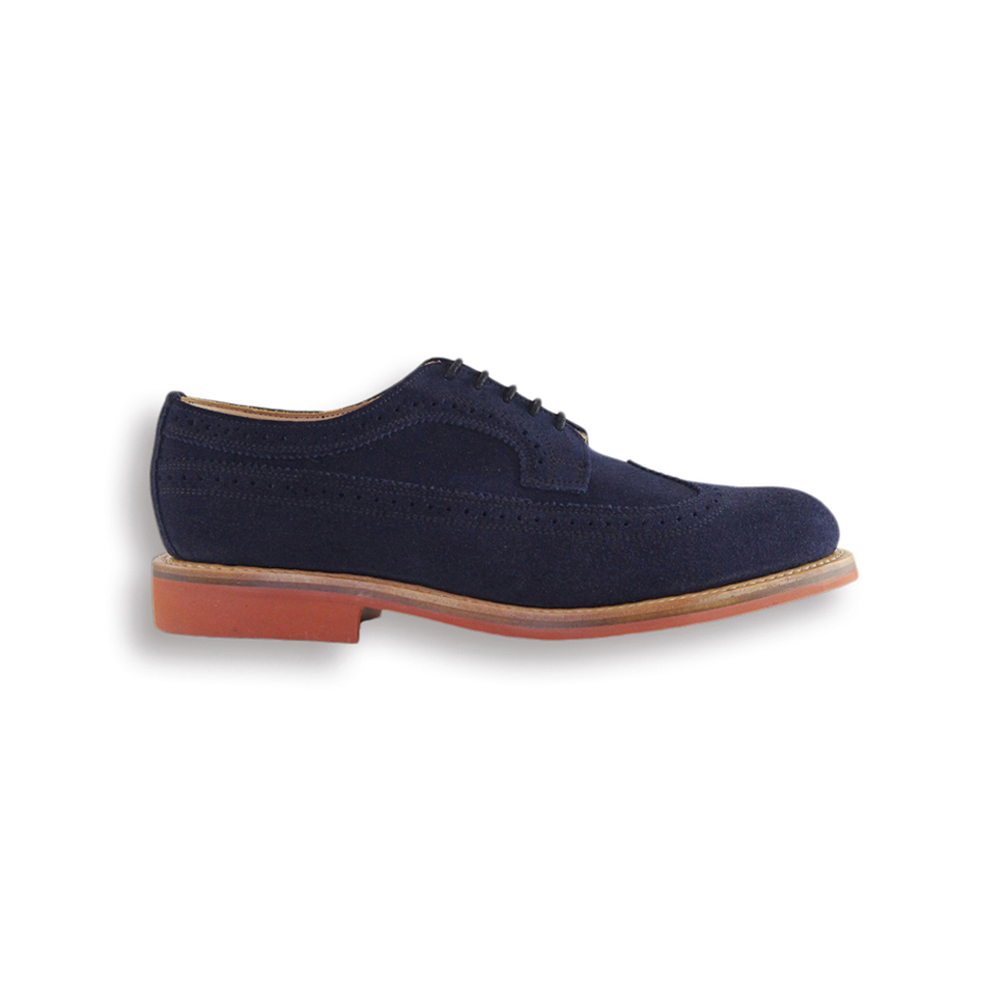 Navy Suede Long Wing Brogue - Red Studded Rubber Sole