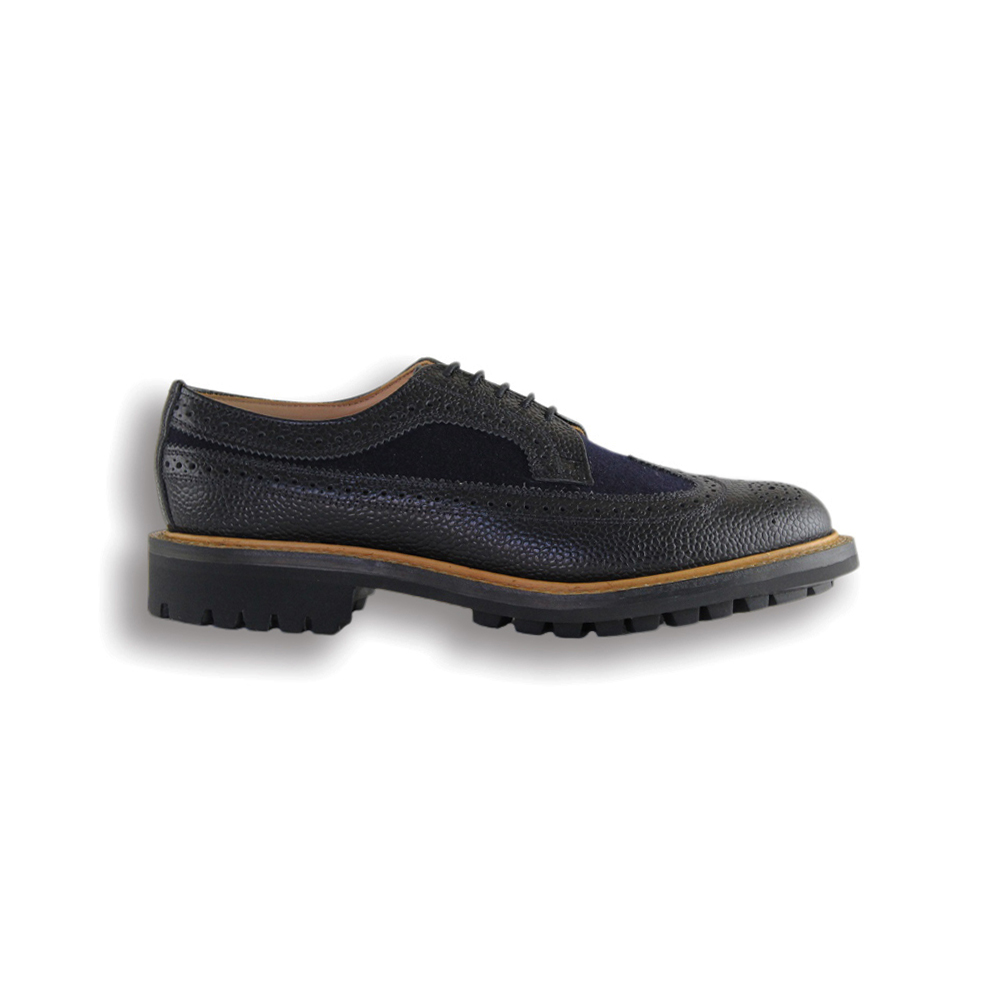 Black Grain Leather and Navy Wool Long Wing Brogue - Black Commando Sole