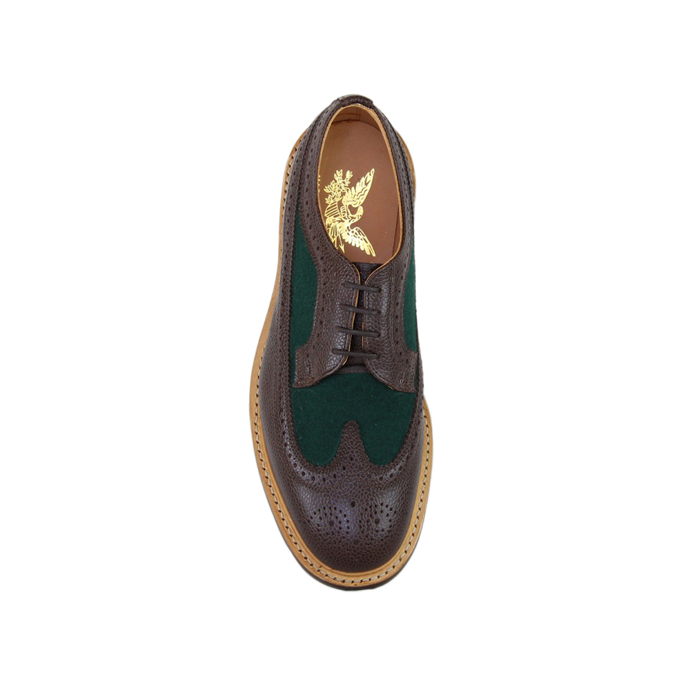 Walnut Grain Leather and Green Wool Long Wing Brogue - Brown Commando Sole