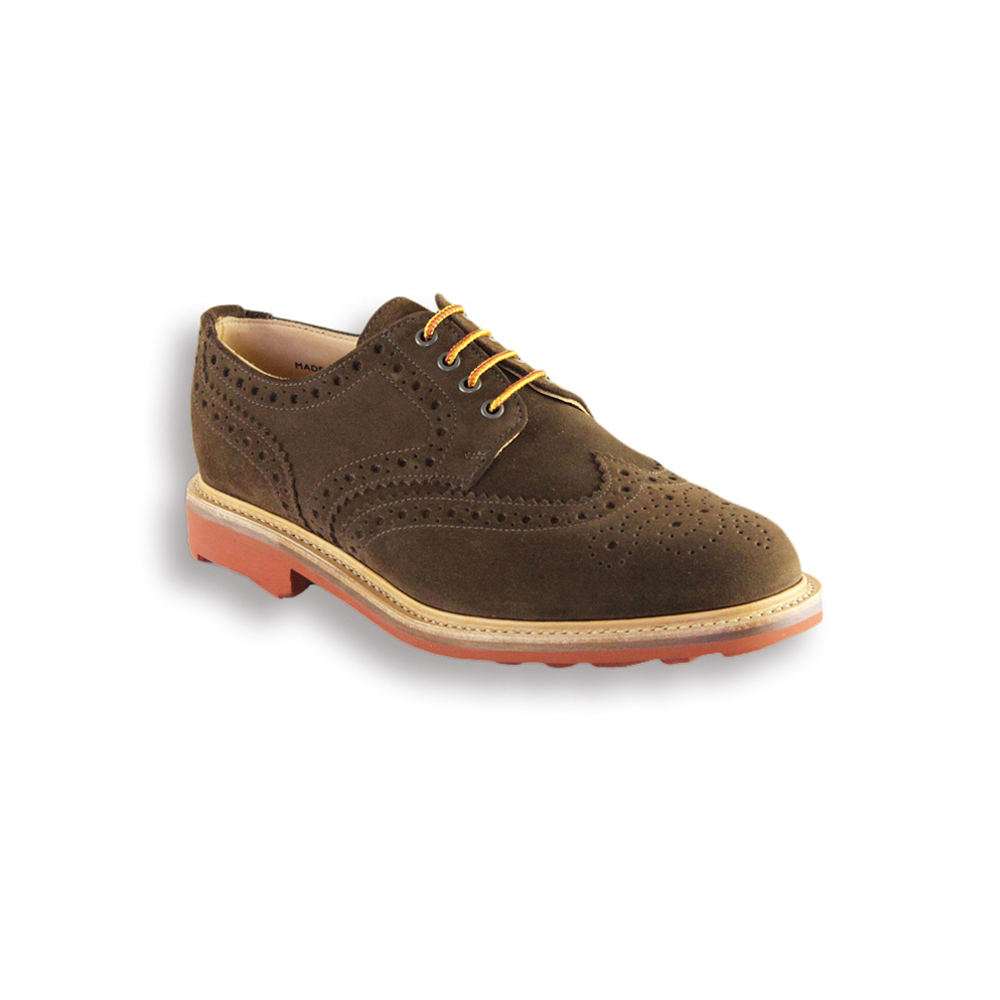 Snuff Suede Country Brogue - Red Rubber Ridgeway Sole