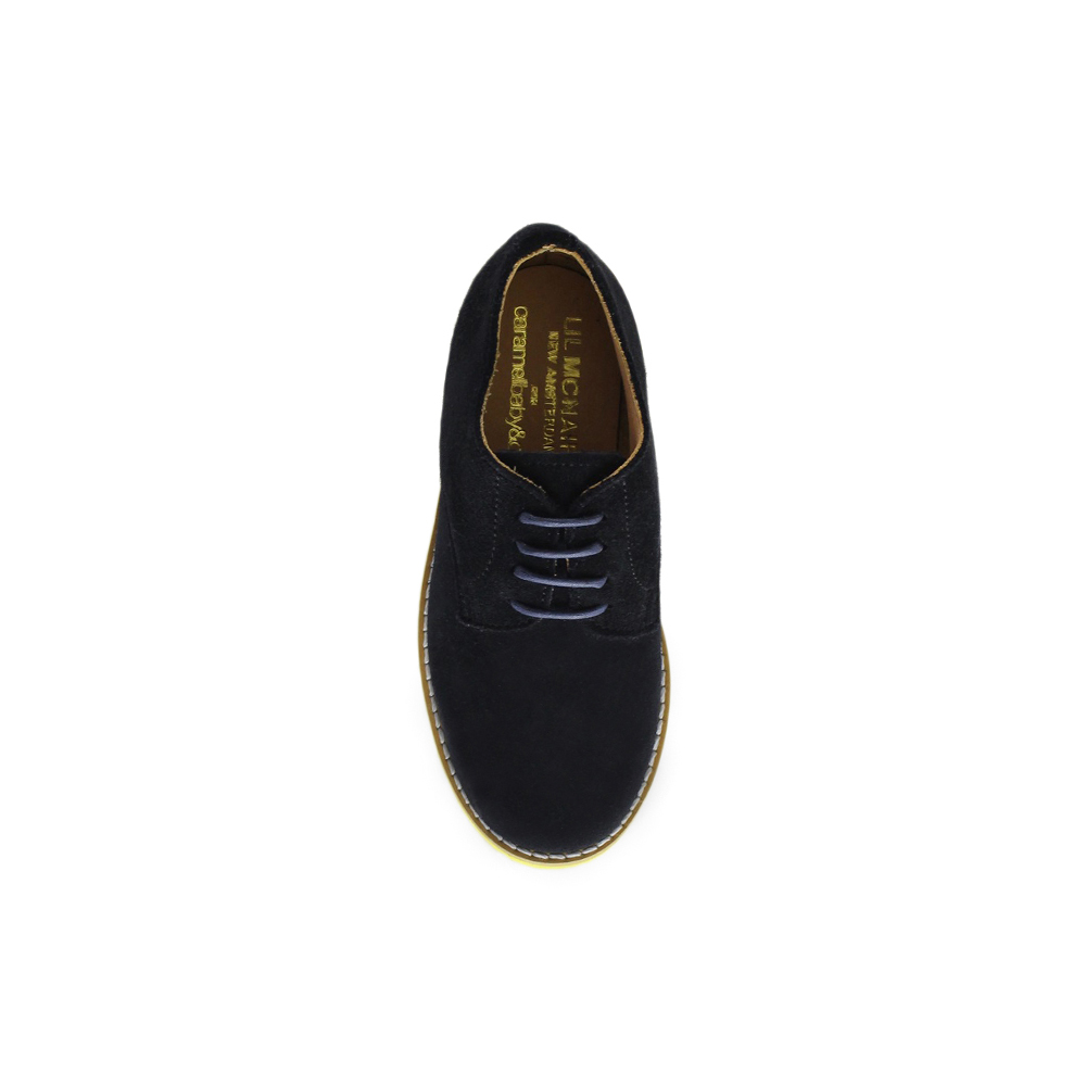 Kids Navy Suede Plain Buck - Yellow Brick Sole