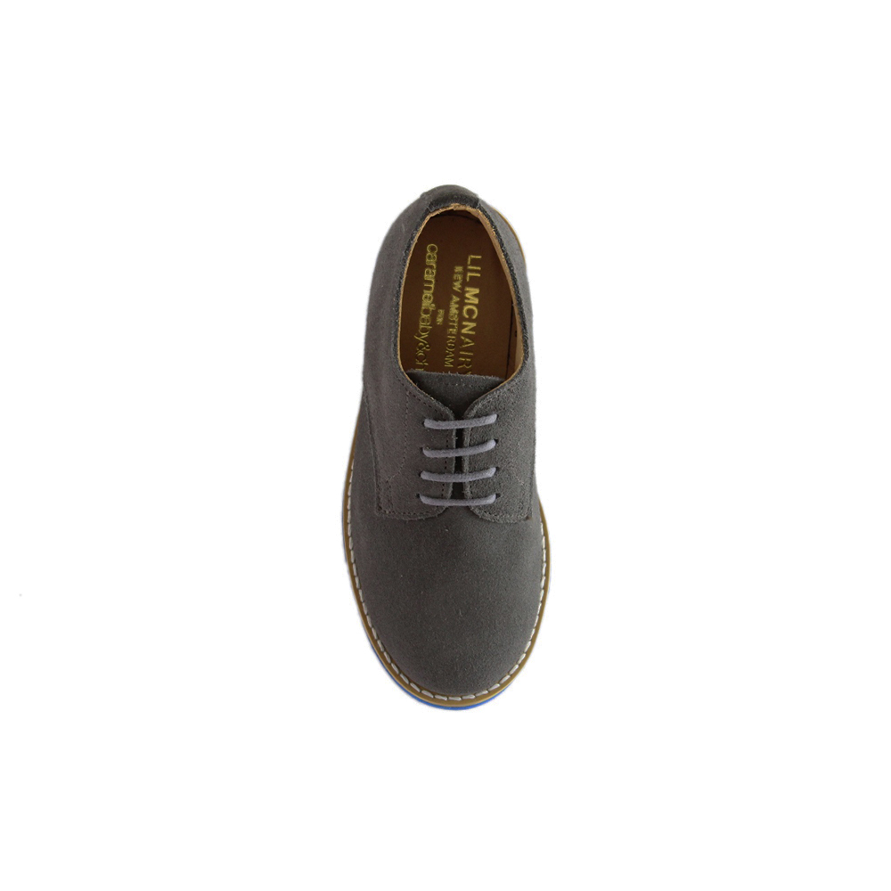 Kids Grey Suede Plain Buck - Blue Brick Sole