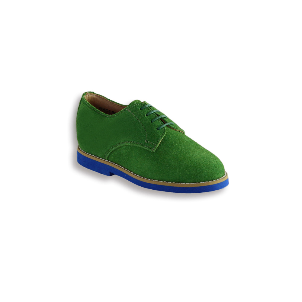 Kids Kelly Green Suede Plain Buck - Blue Brick Sole