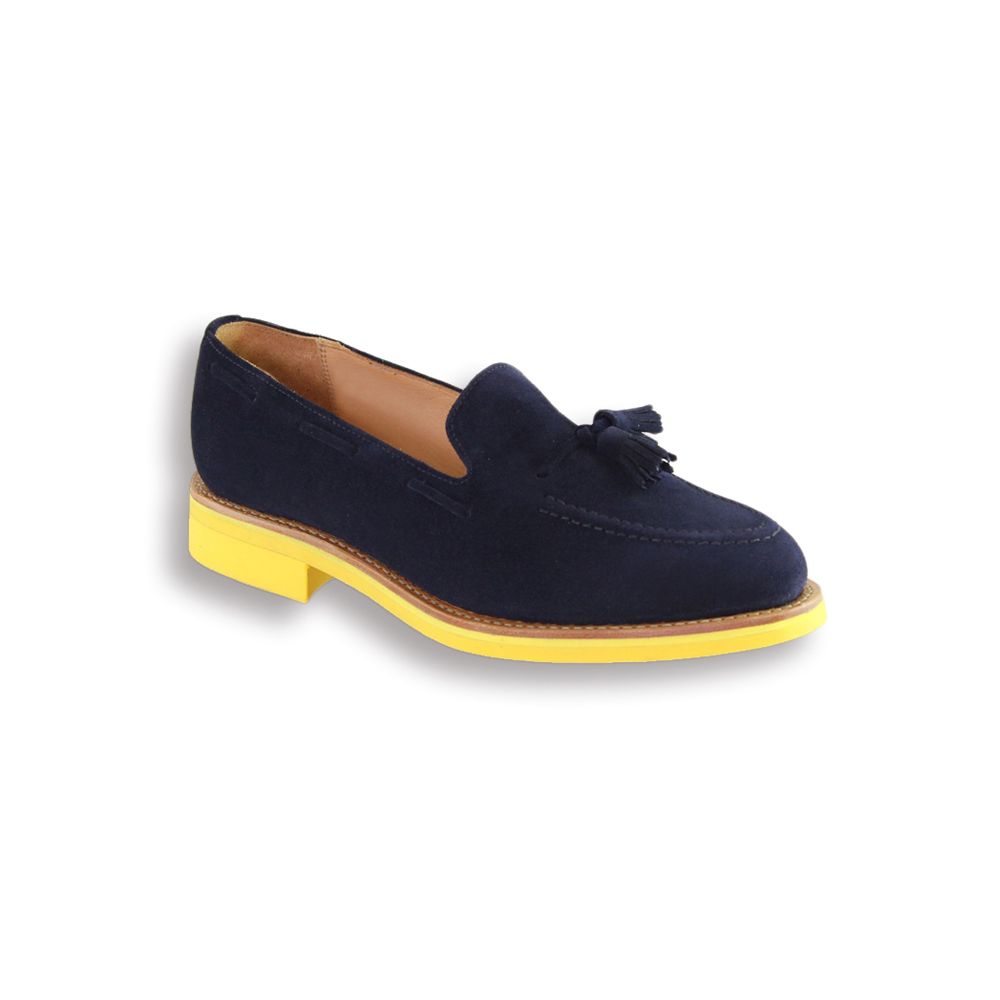 Navy Suede Tassel Loafer - Yellow Studded Rubber Sole