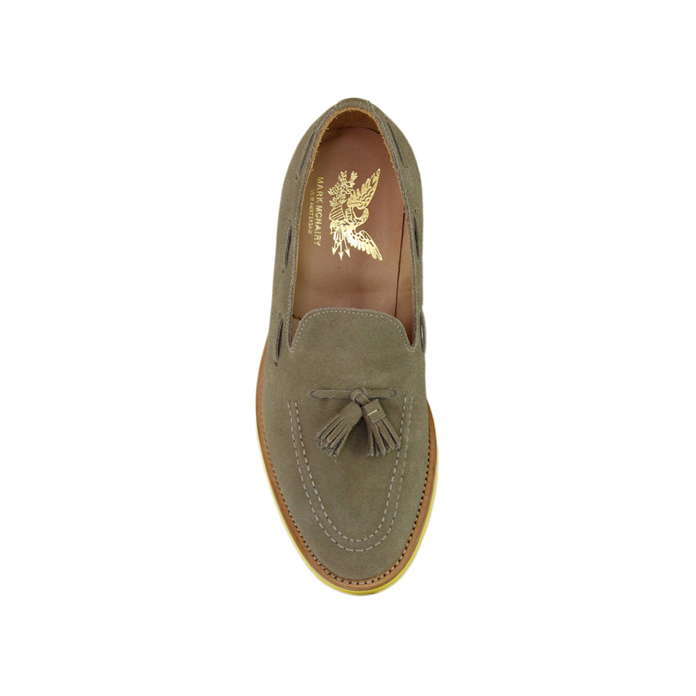 Dirty Buck Suede Tassel Loafer - Yellow Studded Rubber Sole