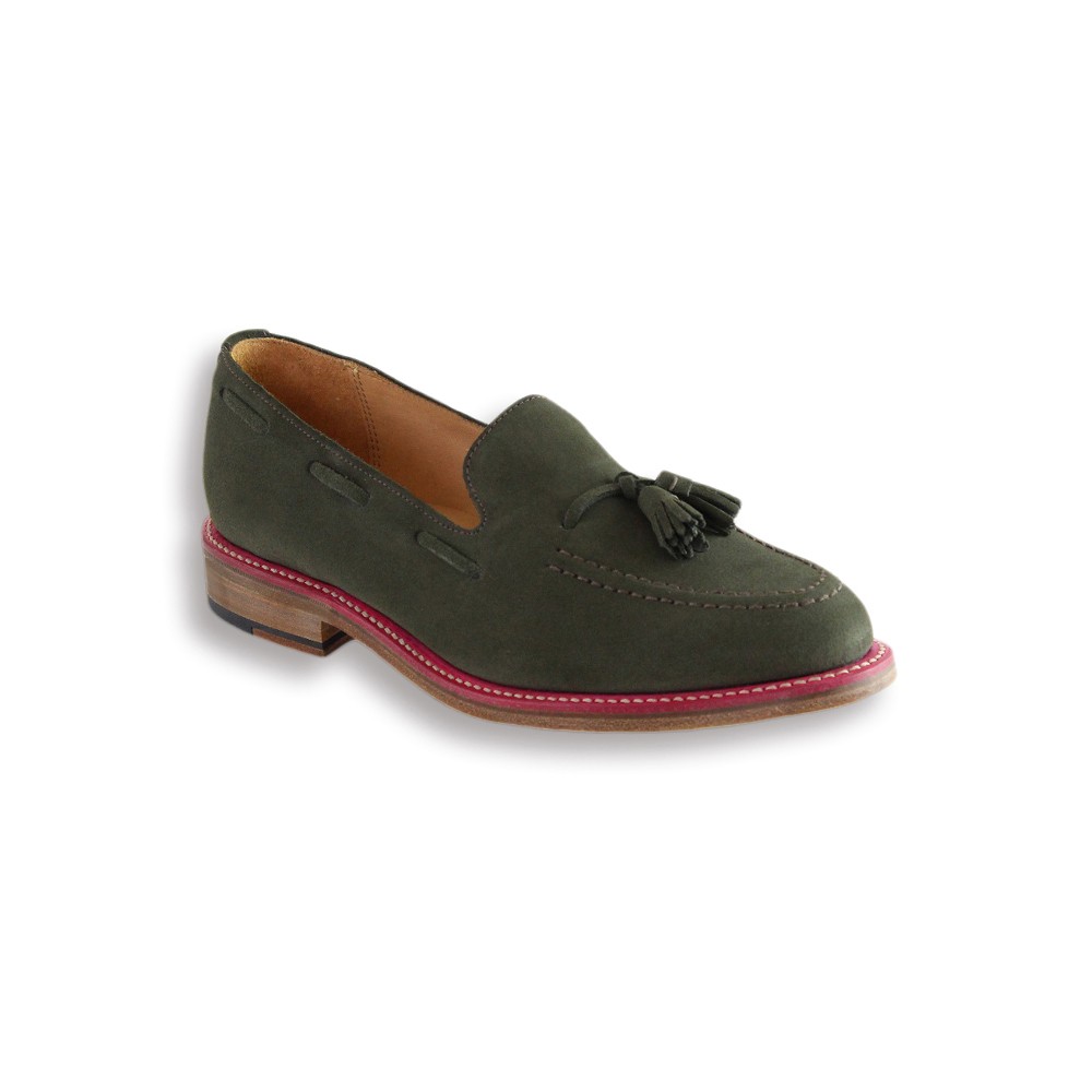Loden Green Suede Tassel Loafer - Leather Sole