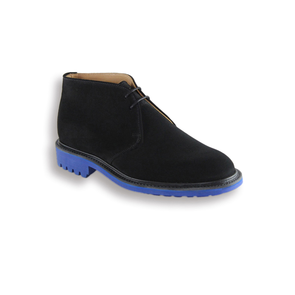Black Suede Chukka Boot - Blue Commando Sole