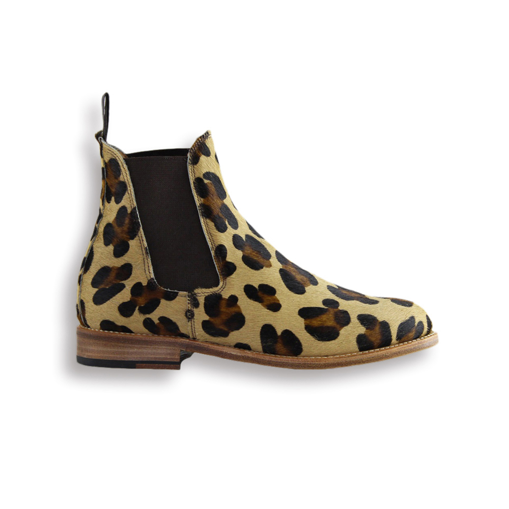 Ladies Leopard Chelsea Boot - Leather Sole