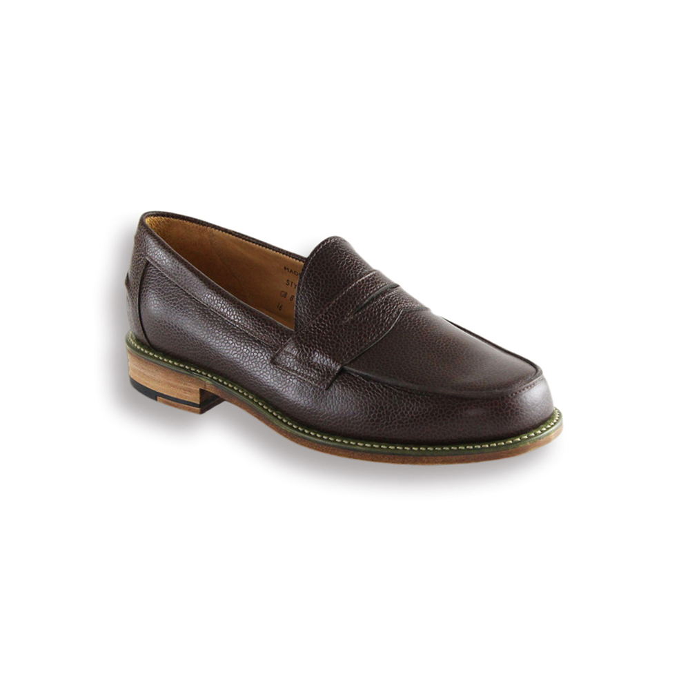 Brown Pebble Butt Seam Penny Loafer - Leather Sole