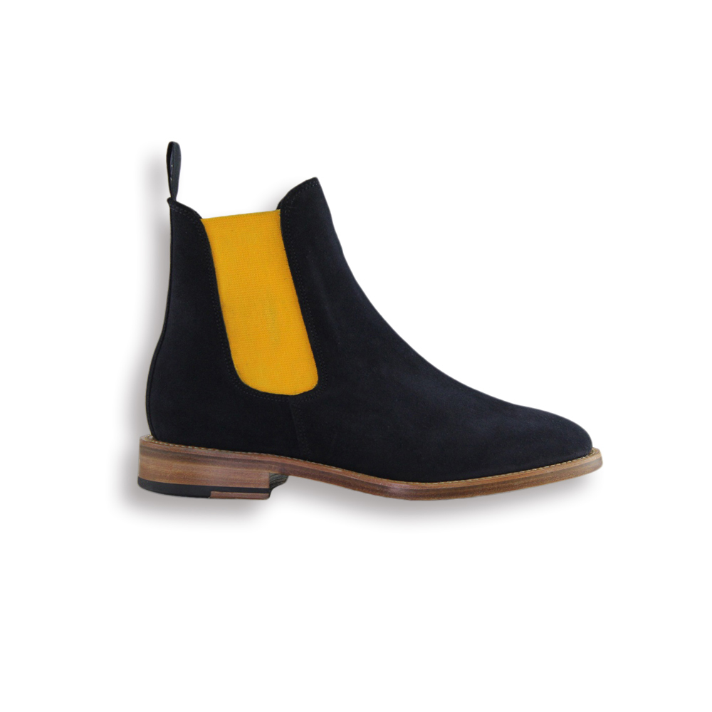 Navy Suede Chelsea Boot - Leather Sole