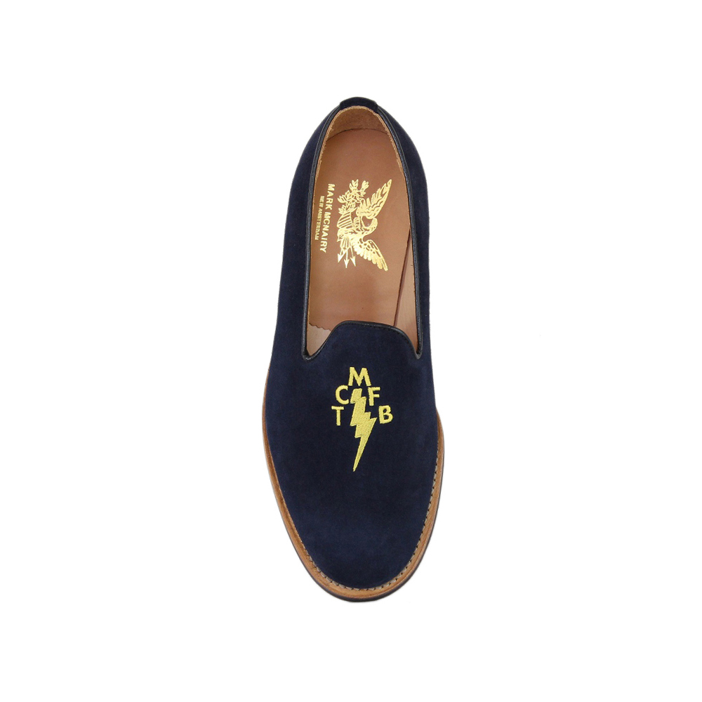 Navy Suede Albert Slipper - Brown Brick Sole