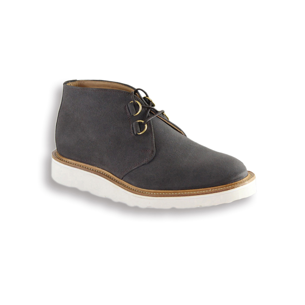Grey Suede D Ring Chukka Boot - White Vibram Sole